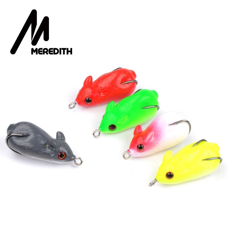 MEREDITH 8.2g 4.5cm 5pcs Pescăruș de pescuit Mouse-uri de momeală Momeală moale pentru șarpe de șarpe de șarpe Broasca de pescuit plutitoare Topwater