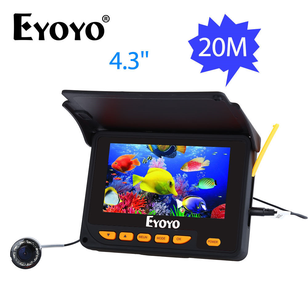 EYOYO F05 4.3 20M Infrared IR Underwater Ocean River Sea Boat Ice Fishing Camera Fish Finder Video Fishfinder Fixed on the Rod