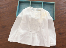 2015 New Arrival Baby Girls Spring White Blouses Long Sleeve Shirts Kids Cotton Embroidery