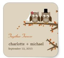1.5inch Love Owls Fall Wedding Favor Sticker