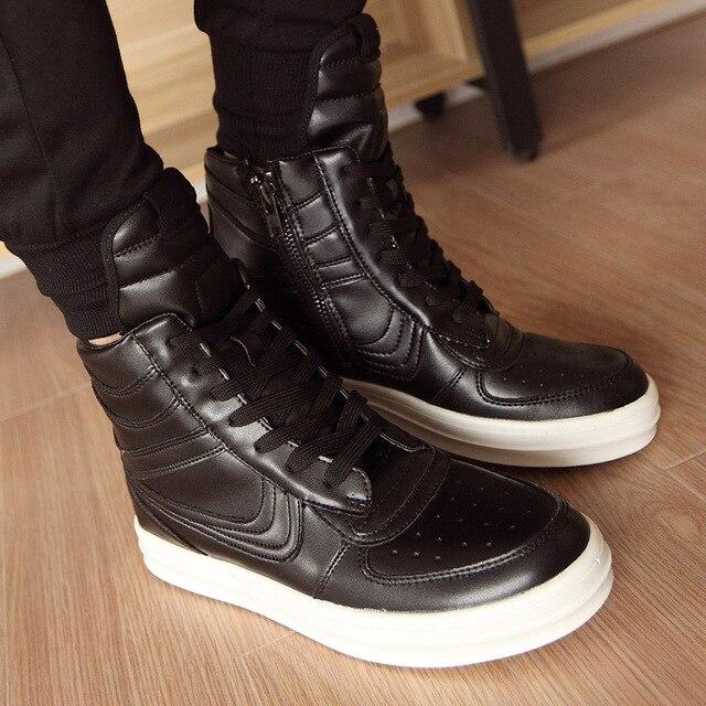 Barato owens 2015 nueva moda con cordones del alto-top botas de los hombres transpirable zapatos zip classic botas masculinas botas de hip-hop