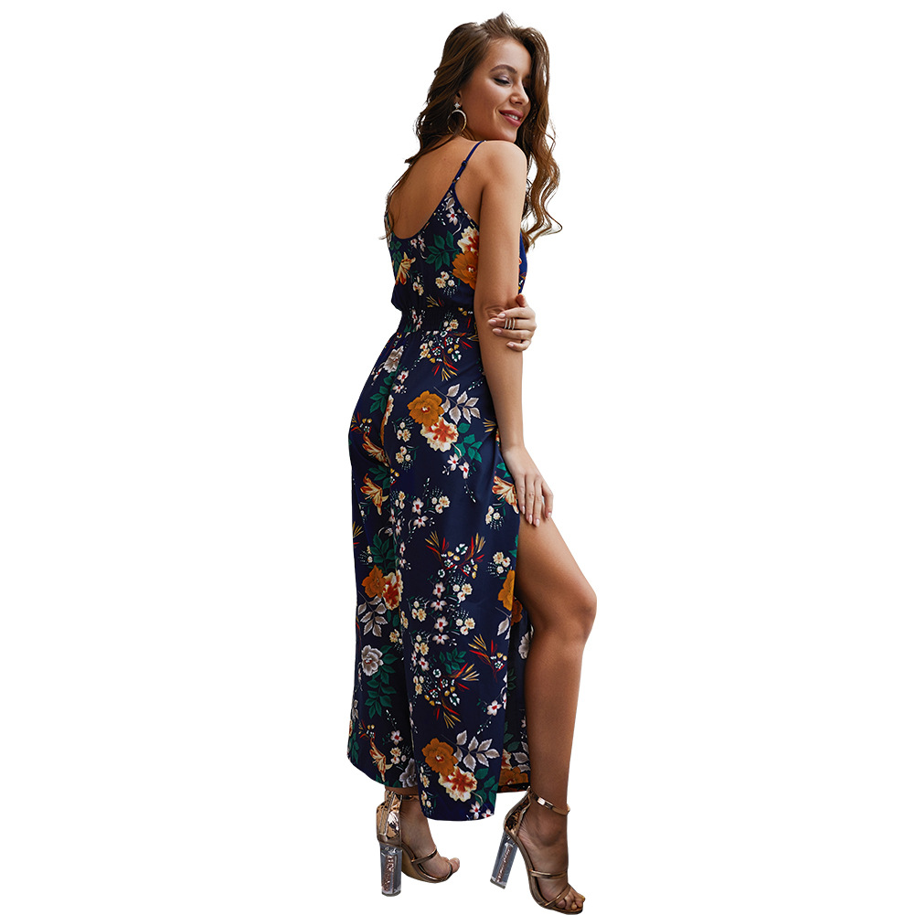 2019 women Super Comfy Floral Jumpsuit Fashion Trend Sling Print Loose Piece Trousers N20D