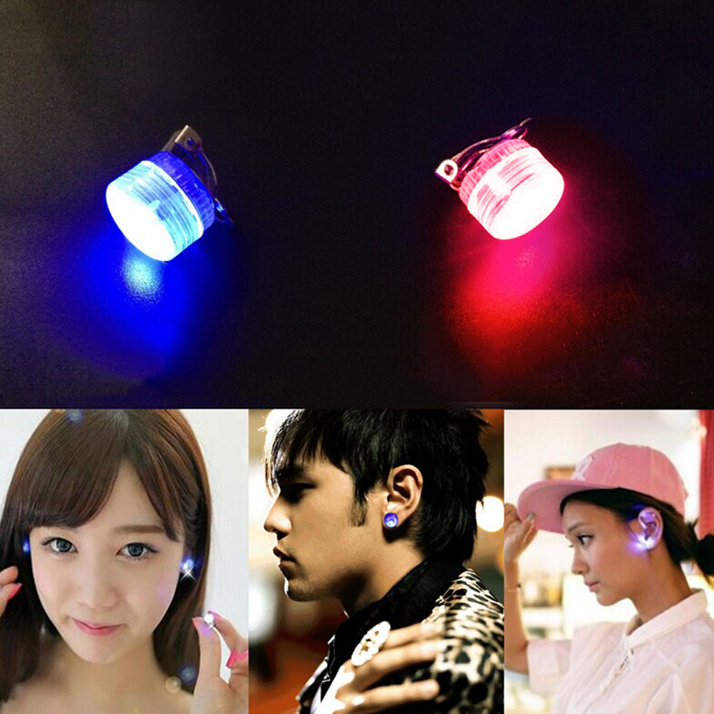 Led Clip Earrings Light Up Bling Ear Studs Blue Red Flash Style Led Earrings 1pc Hot Sale Jewelry & Accessories Clip Earrings