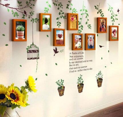 8 Kutuları Yeşil Bahçe Tarzı Katı Ahşap Fotoğraf Çerçevesi Duvar Çıkartmaları Kombinasyonu Oturma Odası Yatak Odası Çay Dükkanı Dekoratif Fotoğraf Duvar