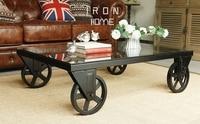 Square, wrought iron tea table. Belt wheel toughened glass tea table. Creative tea table.
