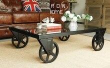 Площадь, кованого ёелеза стол чай. пояса колесо закаленное стекло, чайный столик. творческий чайный столик.