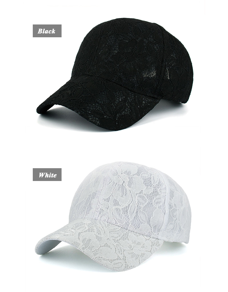 Floral Lace Over Denim Snapback Cap - Black Cap and White Cap Side Angle Views