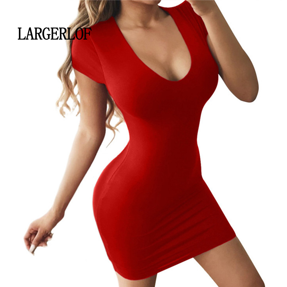 LARGERLOF Dresses Summer 2018 Simple Short Sexy Tight Casual DS45002