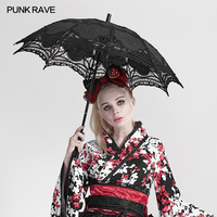 PUNK RAVE Lolita Style Clothing Accessory Personality Black White Women Umbrella Gothic Fashion Club Cosplay Accessories