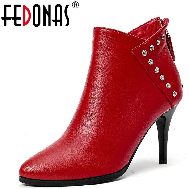 Delgada Oficina Fiesta Mujer Zapatos Tobillo Diamantes De rojo Otoño Tacones Negro Cálido Cuero Genuino Bombas Botas Fedonas Nuevas Mujeres Invierno Imitación qnTvZ