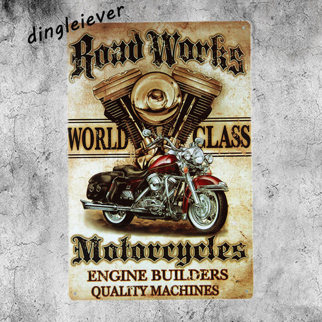 Road Works Motor Garage Wall Sticker Metal Sign Home Decor Antique Tray Home  Decor Vintage Tin