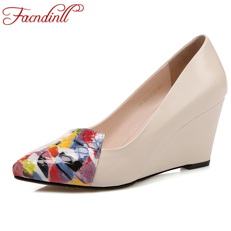FACNDINLL new 2018 spring women pumps shoes wedges high heels pointed toe shoes woman dress party casual shoes pumps size 34-39 fashion genuine leather shoes woman pumps 2016 new sexy wedges high heels round toe lace up women casual party shoes size 34 39