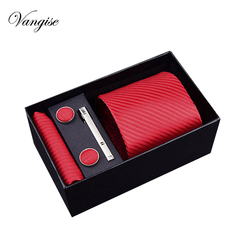 2018 new Classic Mens red Ties Set Polyester Neck Cufflinks for Men Formal Wedding Party Groom Custom Brand  blue