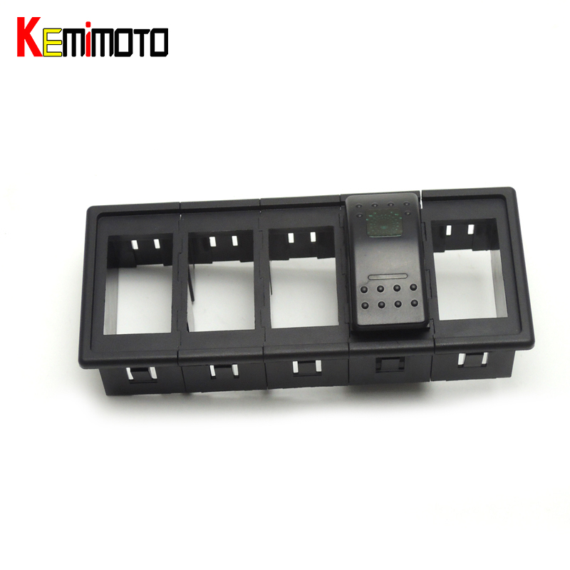 KEMiMOTO Carling Type Black Rocker Switch Clip Panel Holder ARB Boat Switch Housing Plactic 5*5 for Polaris RZR 4 900 2014