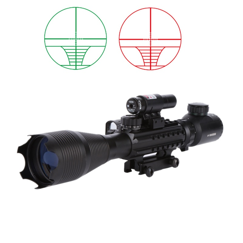 4-12X50 Illuminated Rangefinder Reticle Rifle Scope Holographic 4 Reticle Sight 11mm and 20mm Red Laser Combo Riflescope 3 10x42 red laser m9b tactical rifle scope red green mil dot reticle with side mounted red laser guaranteed 100%