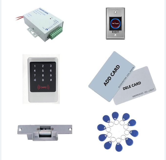 Access control kit,metal standalone access control+ power+ strike lock +exit button+ 10 keyfob ID tags,sn:Tset-1Access control kit,metal standalone access control+ power+ strike lock +exit button+ 10 keyfob ID tags,sn:Tset-1