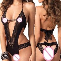 New Sexy Lingerie Hot Black Lace Spliced Erotic Lingerie Costumes Temptation Transparent Sleepwear