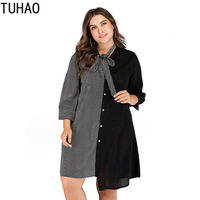 TUHAO Plus Size 5XL 4XL 3XL Office Lady Dresses 2019 Autumn Large Size Irregular Women Patchwork Striped Women Work Dress LW63