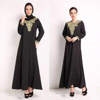3 Kolory Długi Rękaw Moda Muzułmanki Embroidey Dubai Abaya Islamski Kobiet Rocznika Sukienka Maxi Odzież Marokański Kaftan Robe