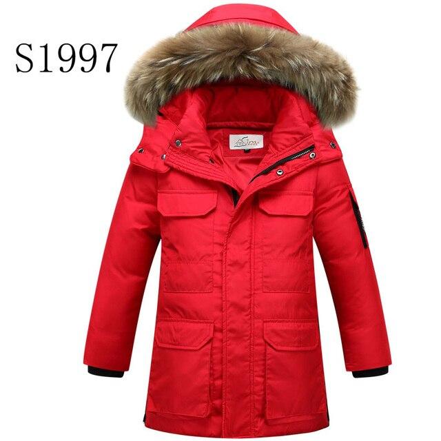 6cedec5e7 9-16T Big Boy Winter Coat 3 color Fur Collar White Duck Down Hooded Zipper  Long Down Coat Hot Sale Winter Coat Warm Parkas