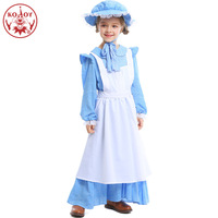 Kids Girls Pioneers Colonial Costume Vintage Outfit With Hat Halloween Festival Clothes Carnival Party Cosplay