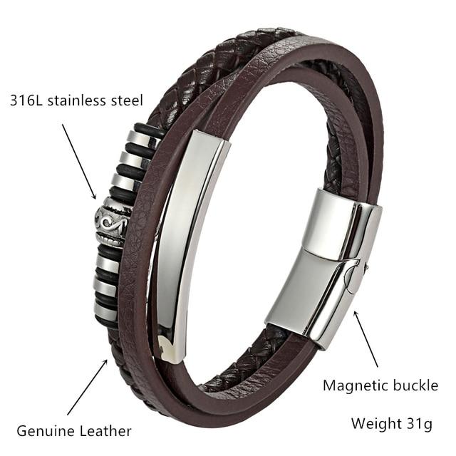 Фото мужской многослойный кожаный браслет с магнитной пряжкой из цена