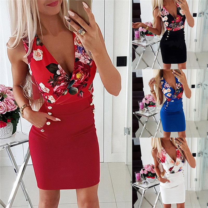 Women Bodycon Dress Sexy V-Neck Sleeveless Flower Print Mini Dress Button Decor Office Ladies Summer Slim Dress summer casual bodycon dresses