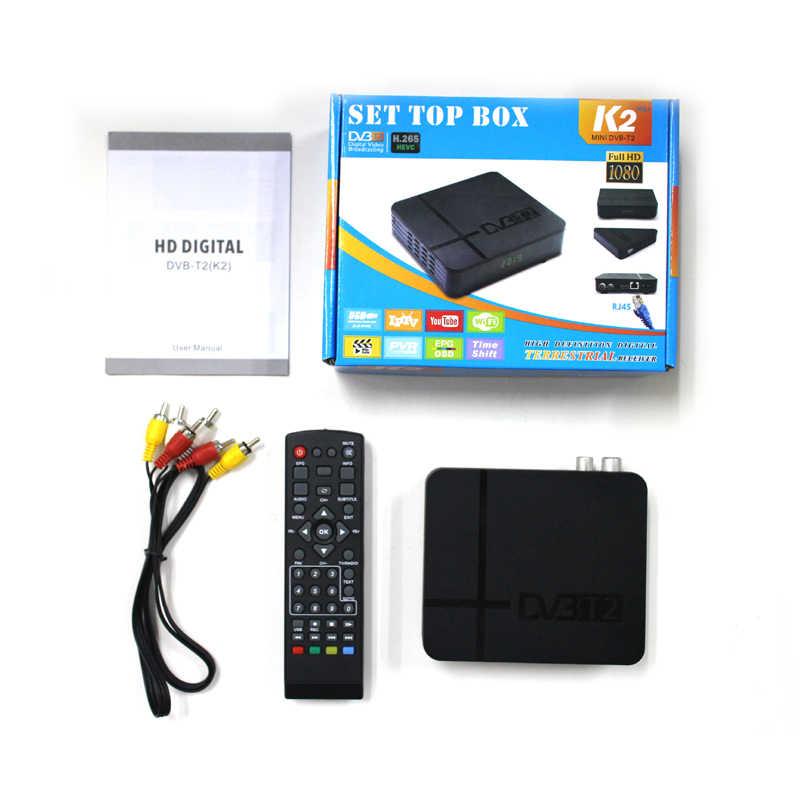 Mini nouveau DVB-T2 H.265/HEVC Compatible DVB-T/H264 DVB T2 H265 Hevc Dolby AC3 IPTV Youtube accordeur numérique terrestre K2 MAX