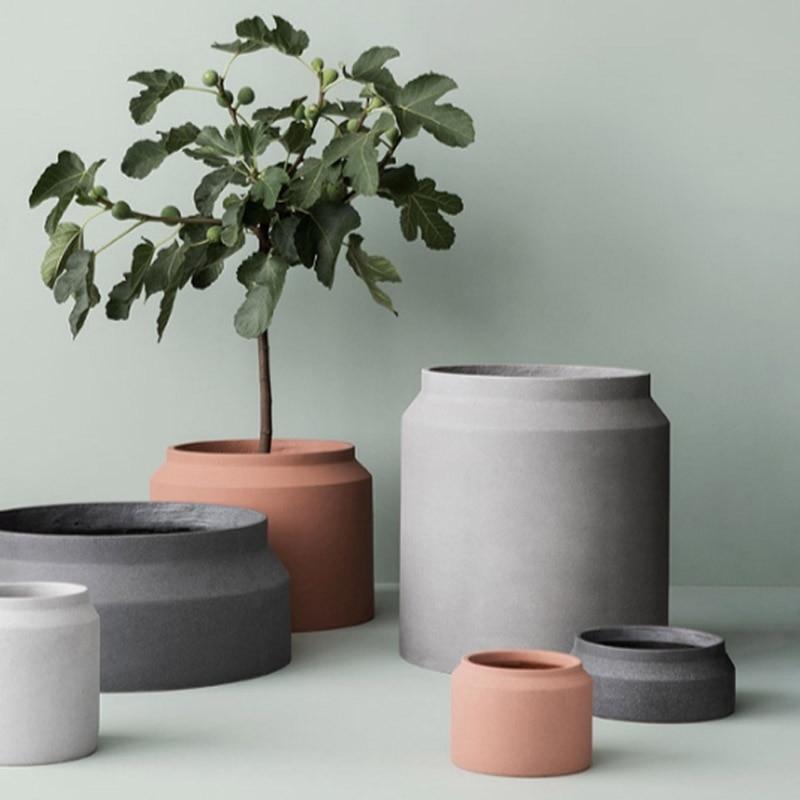 European Style Concrete Pot  Mold Round Flower Pot Mold Nordic Simple Style Cement Flower Pot Molds