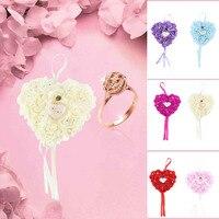 Romantic Rose Wedding Favors Heart Shaped Gift Ring Box Pillow Decoration DIY Artificial Handmade Flowers Decorative