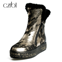 CZRBT Genuine Leather Snow Boots Really Fur Ankle Boots Winter Warm Wool Snow Boots Women Golden