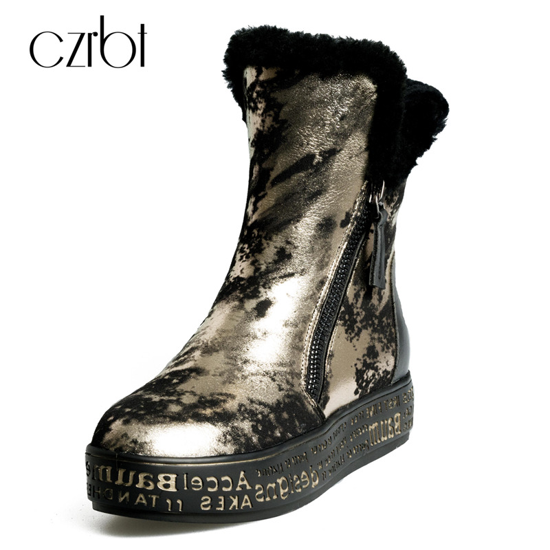 CZRBT Genuine Leather Snow Boots Really Fur Ankle Boots Winter Warm Wool Snow Boots Women Golden Silvery Zipper Boots Woman Shoe cocoafoal women s wool snow boots woman ankle boots silvery winter snow boots flat with platform wool snow boots genuine leather