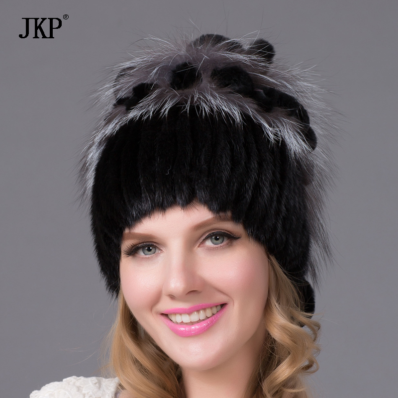Real mink cap women with fur lining knit cap knitted with puffed rugs Russian style fox