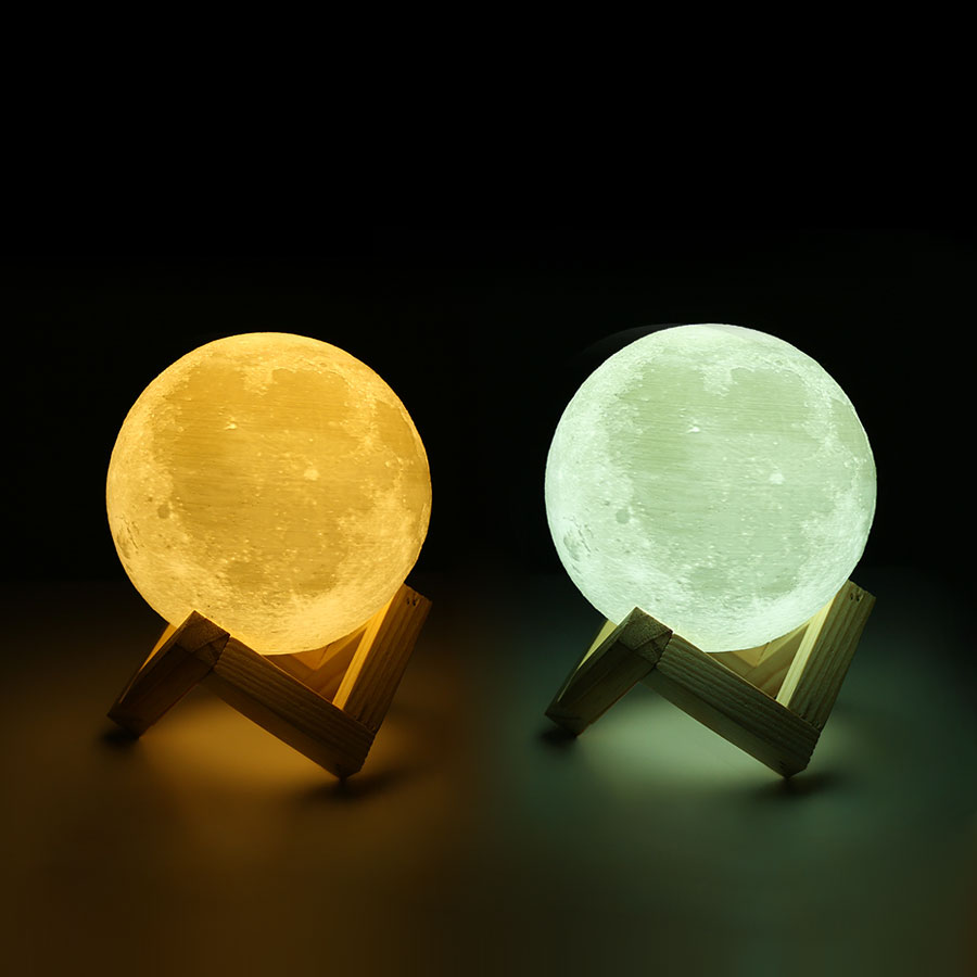Novelty 3D Print Moon Lamp 2 Color Change Brightness Adjustable Intelligent Touch Switch Bedroom Bookcase Night Light Home Decor magnetic floating levitation 3d print moon lamp led night light 2 color auto change moon light home decor creative birthday gift