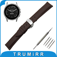 22mm Genuine Leather Watch Band For Vector Luna Meridian Butterfly Buckle Strap Wrist Belt Bracelet Black