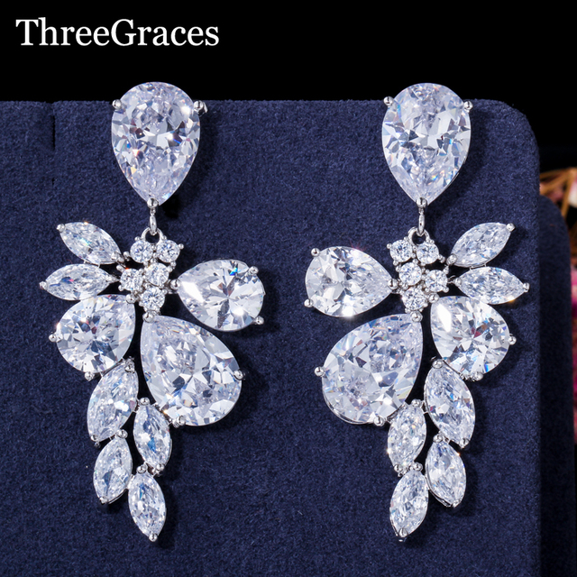 Us 9 69 5 Off Aliexpress Threegraces New Arrival Luxury Marquise Shape Cubic Zirconia Bridal Size Exaggerated Wedding Earrings For