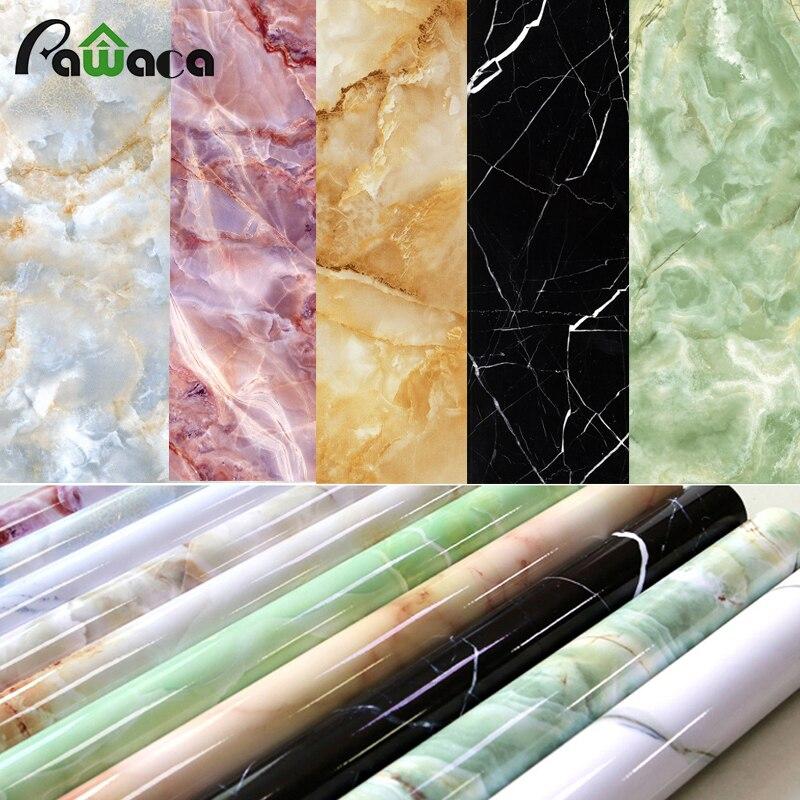 Home Decor Мрамор глянцевый винил Обёрточная бумага очень широкие Плёнки стены Наклейки Роскошные съемный для шкафа плита Мебель Наклейки 60*180 с... ...