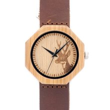 Engraved Deer head Natural Wooden  Watch With Genuine Cowhide Leather Lover Luxury Customed Watches with Gift Box  Drop Ship