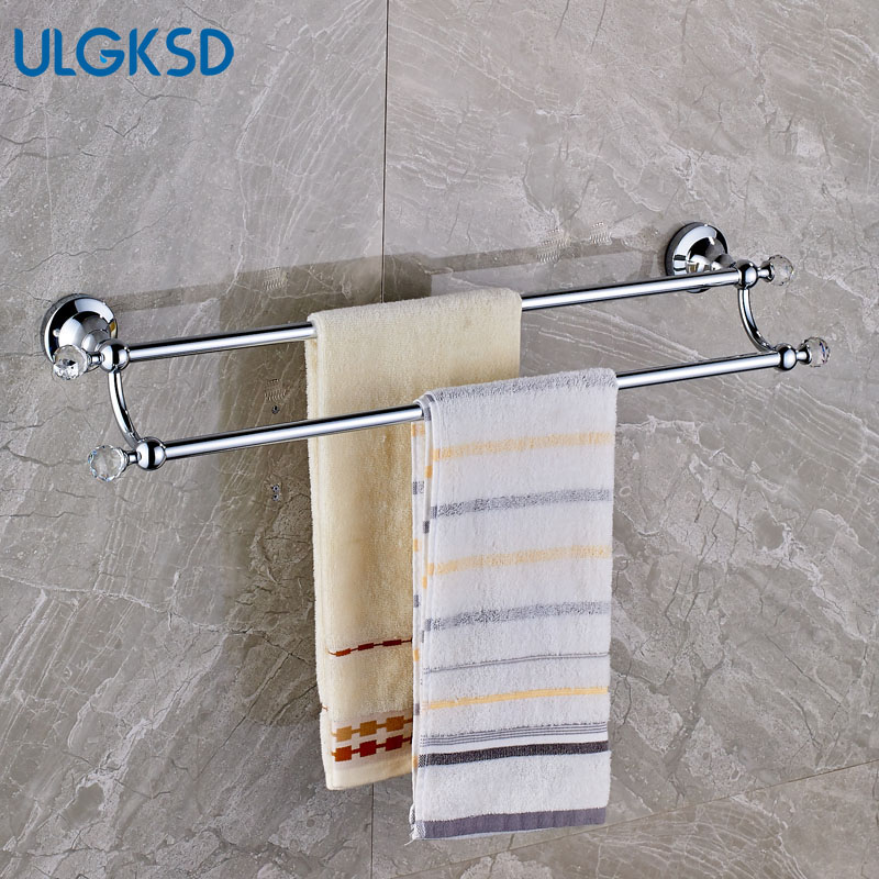 Ulgksd Solid Brass Chrome Bathroom Accessories Double Bath Towel Rack Crystal Wall Mounted Towel Holders Clothes Hooks ulgksd luxury bathroom accessories set stainless steel towel hanger bath towel rack wall mounted towel holders clothes hooks