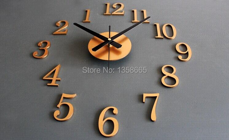 new metallic diy wall clock 3d sticker home decoration modern design