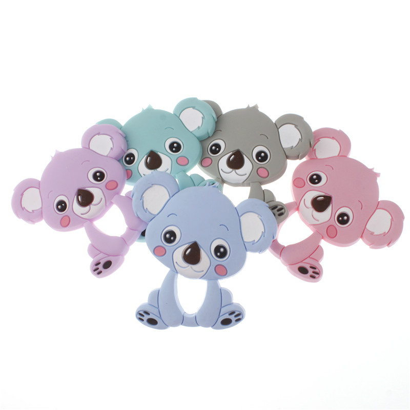 10pcs Koala Silicone Teether Pendant Bear Baby Teether Toys BPA Free Chewable Silicone Teething Chew Toys For Baby