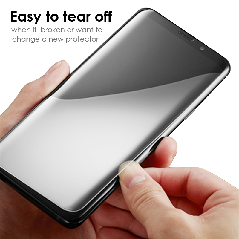 Akcoo Note 9 liquid full glue glass protector with USB UV lamp for Samsung Galaxy S8 S9 Plus note 8 full cover S8 clear glass in Phone Screen Protectors from Cellphones Telecommunications