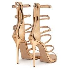THEMOST Women High heels Female Sandals New Fashion Gladiator Buckle strap Zip Thin heels Gold Shoes woman Sandalias