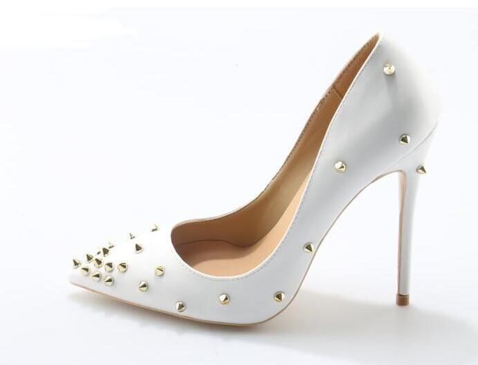 Newest Rivets Studded White High Heel Shoe Sexy Pointed Toe Woman Pumps Shoes Red Thin Heels Pointed Toe High Heels summer bling thin heels pumps pointed toe fashion sexy high heels boots 2016 new big size 41 42 43 pumps 20161217