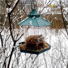 Зеленый павильон кормушка для птиц с присоской висячая птичка для наружного Прямая