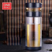 ONEISALL 300 ML Doble Capa De Vidrio con Infusor de Té Drinkware Taza de Té Oficina de Negocios Hombre Ajustable Botella de Té Ecológico