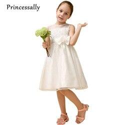Elegante Elfenbein-weiße Blumenmädchen Kleid Mit Rose Blumen Vestidos De Daminhas De Honra Kleinkinder Kleinkind Kinder Blume Kleid
