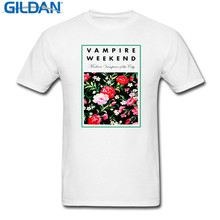Print Summer Style  Crew Neck Men Vampire Weekend Floral Broadcloth Short Sleeve T Shirt