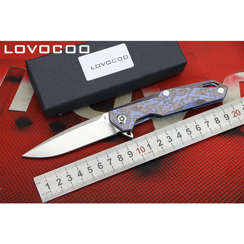 LOCOVOO Tiany New arrival Flipper folding knife D2 blade Titanium handle Outdoor camping hunting Survival pocket knives EDC tool quality tactical folding knife d2 blade g10 steel handle ball bearing flipper camping survival knife pocket knife tools