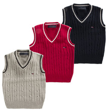The famous spring and autumn 100% boy sweater / European and American fashion school V-neck sweater vest 4color for 1-8T child
